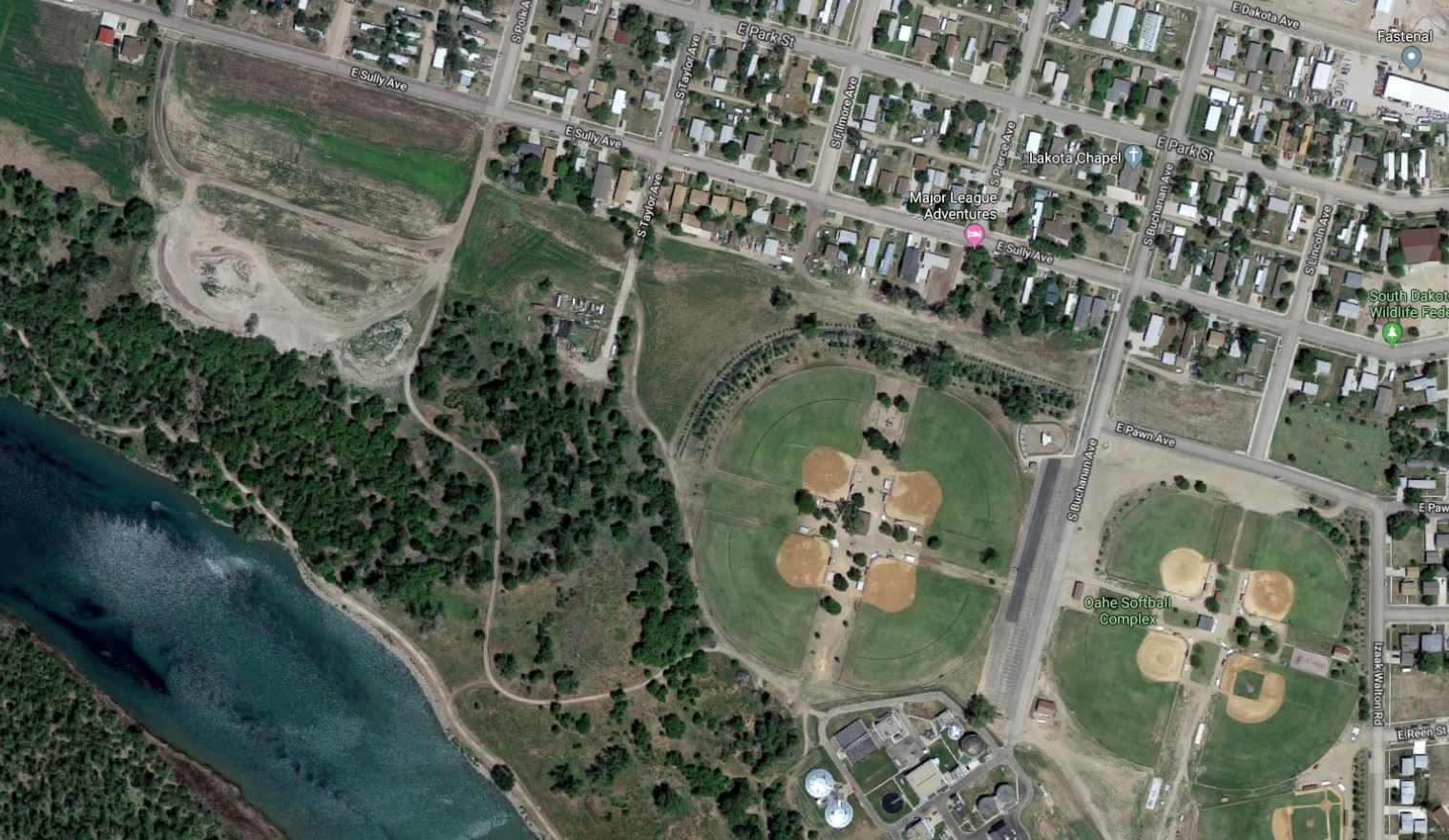 OAHE SOFTBALL COMPLEX MAP